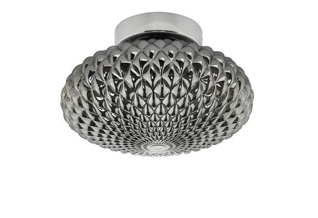 Dar Bibiana BIB0710 Small Single Wall/Flush Ceiling Light In Polished Chrome Finish With Smoked Glass Shade