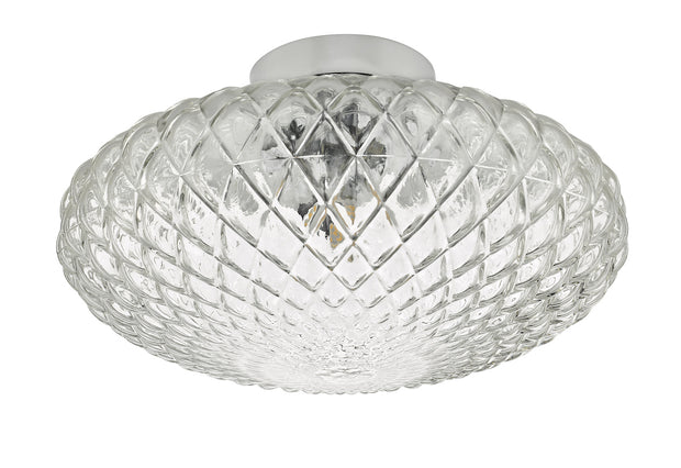 Dar Bibiana BIB3008 Large Single Wall/Flush Ceiling Light In Polished Chrome Finish With Clear Glass Shade