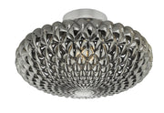 Dar Bibiana BIB3010 Large Single Wall/Flush Ceiling Light In Polished Chrome Finish With Smoked Glass Shade