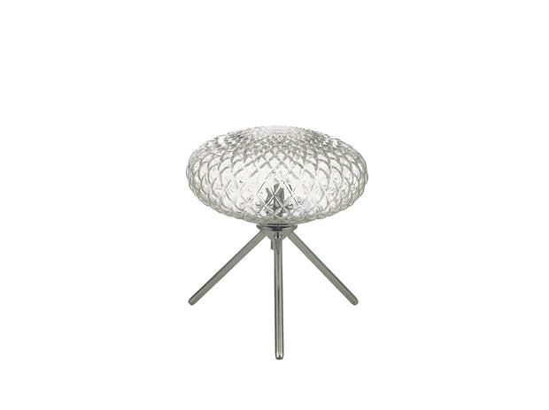Dar Bibiana BIB4108 Small Table Lamp In Polished Chrome Finish With Clear Glass Shade