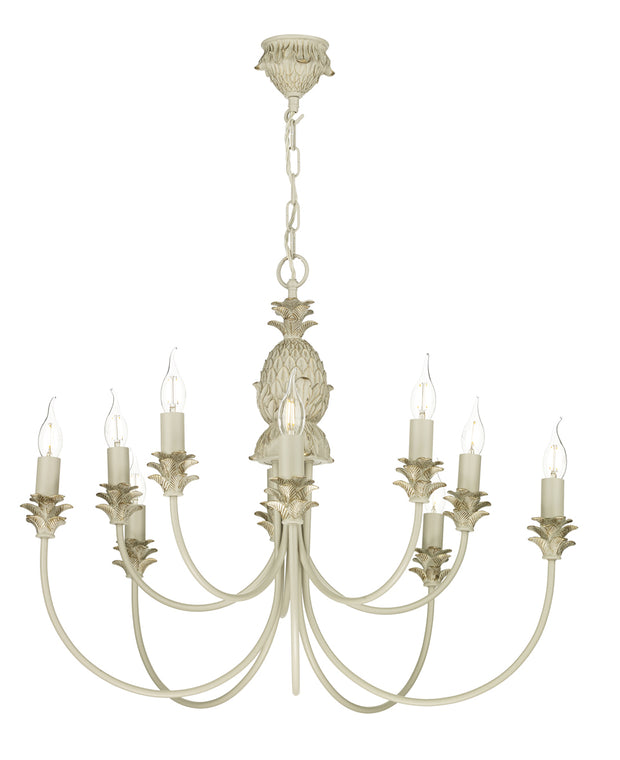David Hunt Cabana CAB2312 Cream/Gold 10 Light Chandelier - Fitting Only