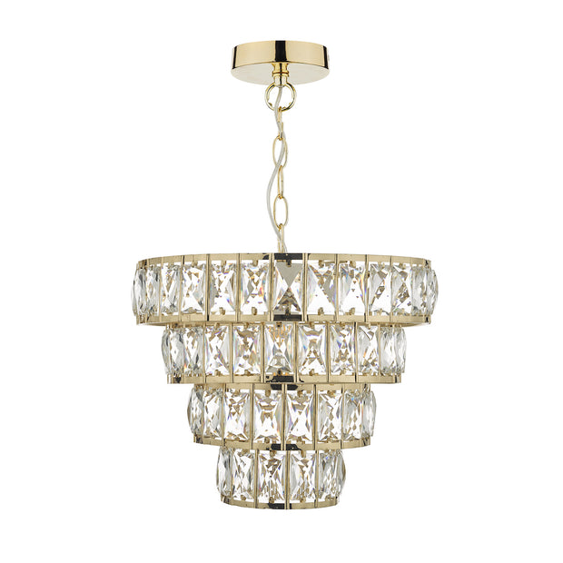 Dar Cerys CER0135 1 Light 4 Tier Pendant In Polished Gold & Crystal Finish