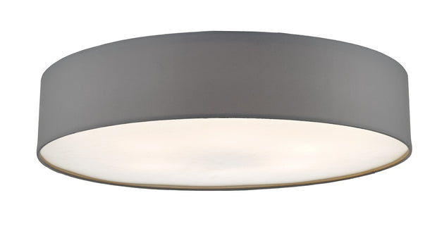 Dar Cierro CIE4839 6 Light Flush Ceiling Light In Grey With Frosted Diffuser