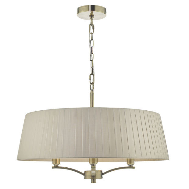 Dar Cristin CRI0429 4 Light Pendant In Antique Brass Finish Complete With Taupe Ribbon Shade