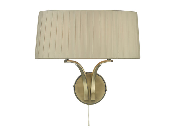 Dar Cristin CRI0929 2 Light Wall Light In Antique Brass Finish Complete With Taupe Shade