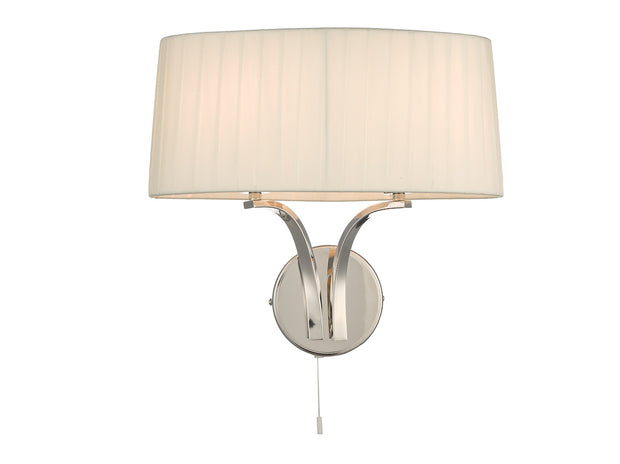 Dar Cristin CRI092 2 Light Wall Light In Polished Nickel Finish Complete With Ivory Shade