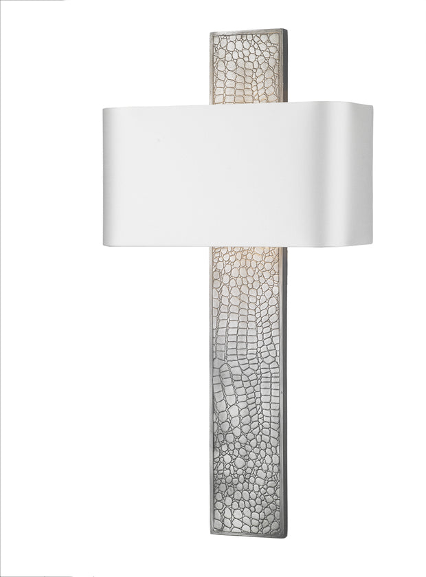 David Hunt Croc CRO0799 Pewter Single Wall Light Complete With Bespoke Shade (Specify Colour)
