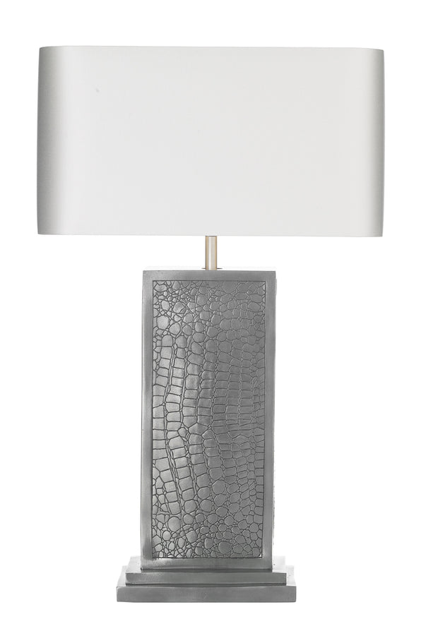 David Hunt Croc CRO4299 Pewter Table Lamp Complete With Bespoke Shade (Specify Colour)