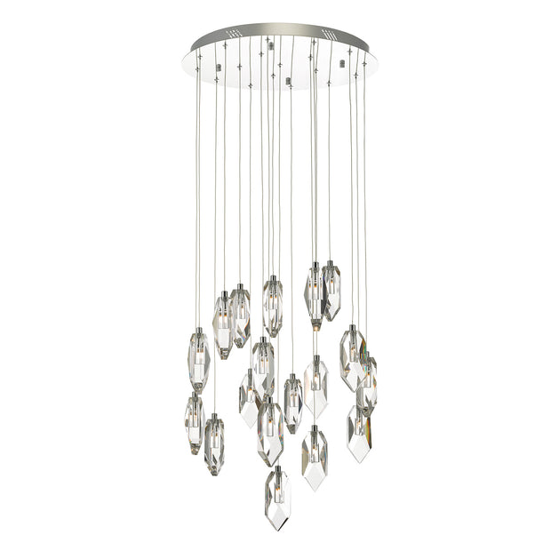Dar Crystal CRY1850 18 Light Cluster Pendant In Polished Chrome & Crystal Finish