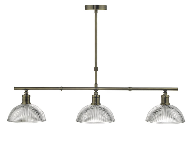 Dar Dara DAR0375 3 Light Bar Pendant In Antique Brass Finish With Clear Glass Shades
