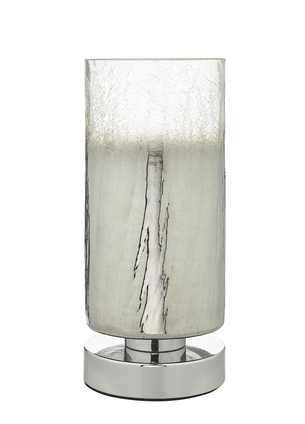 Dar Deena DEE4208 Touch Table Lamp In Polished Chrome Finish With Crackle Glass