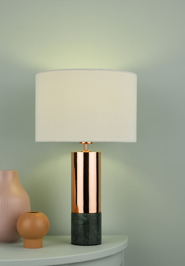 Dar Digby DIG4264 Table Lamp In Polished Copper & Green Marble Complete With White Shade