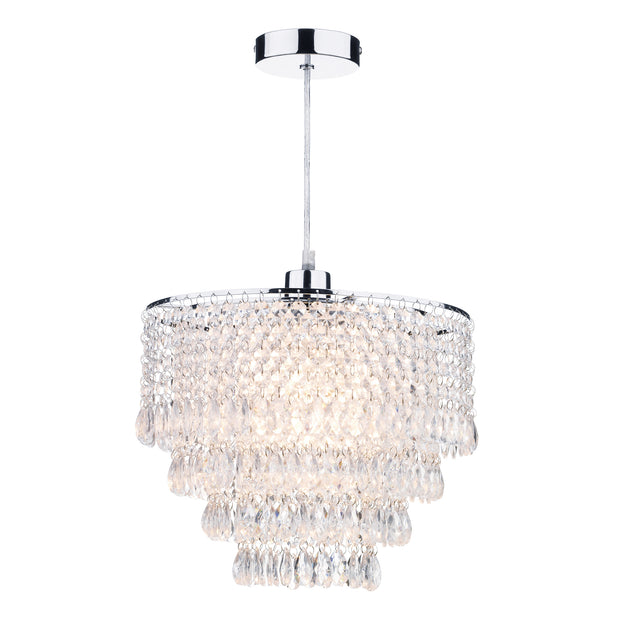 Dar Dionne DIO6508 Polished Chrome Non Electric Pendant With Clear Droppers