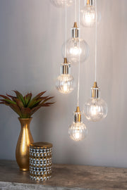 Dar Dita DIT2342 10 Light Cluster Pendant In Brass Finish With Clear Glass