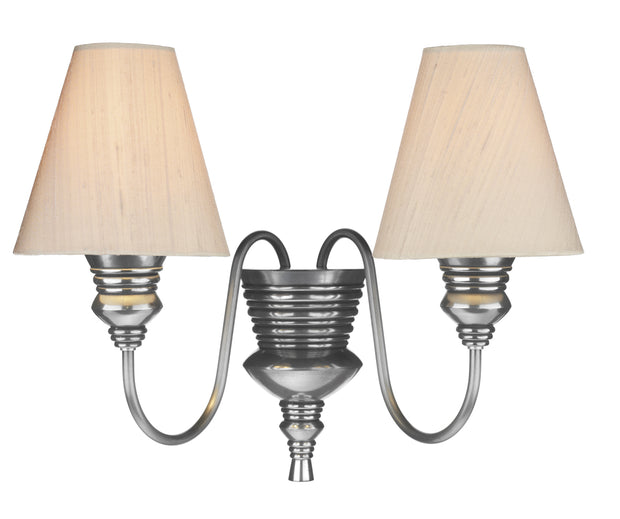 David Hunt Doreen DOR0999 Pewter Double Wall Light Complete With Silk Shades (Specify Colour)