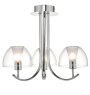 Dar Duana DUA5350 3 Light Semi Flush Ceiling Light In Polished Chrome Finish With Clear Glass Shades