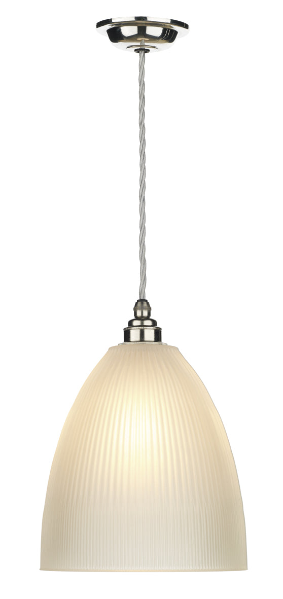 David Hunt Duxford DUX0150 Polished Chrome/Nickel Single Pendant Light Complete With Satin Glass