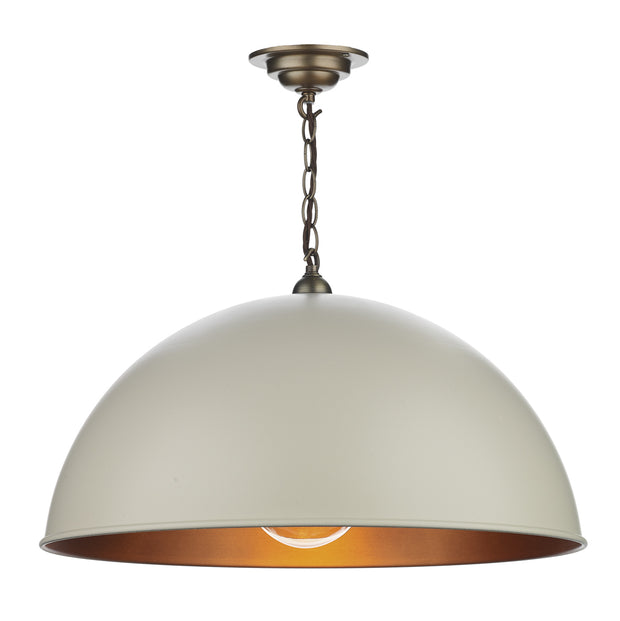 David Hunt Ealing EAL0112 Large Cotswold Cream Single Pendant Complete With Antique Brass Inner
