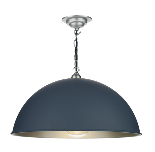David Hunt Ealing EAL0123C Large Smoke Blue Single Pendant Complete With Brushed Chrome Inner