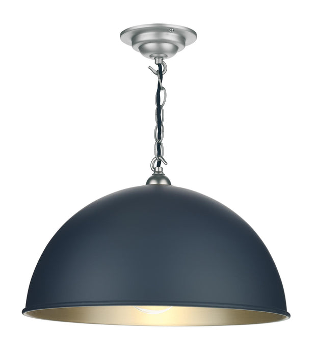 David Hunt Ealing EAL8623C Smoke Blue Single Pendant Complete With Brushed Chrome Inner