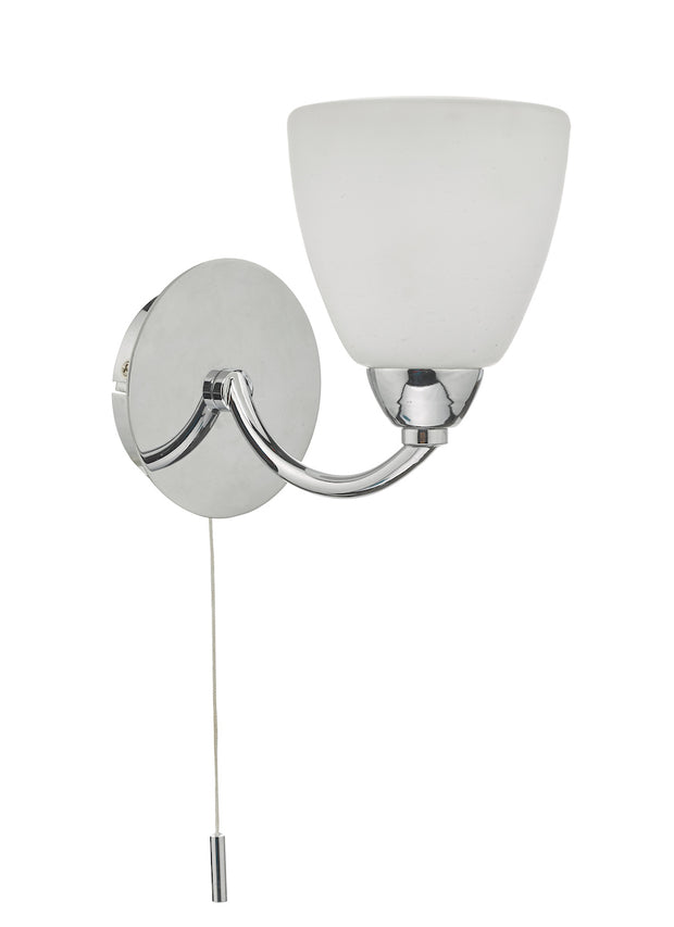 Dar Edanna EDA0750 Single Wall Light In Polished Chrome Finish With Opal Glass Shades - IP44