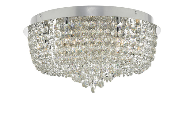 Dar Eitan EIT5008 9 Light Flush Ceiling Light In Polished Chrome & Crystal Finish