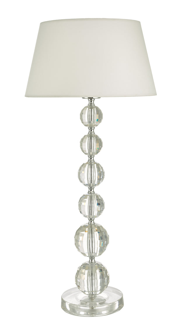 Dar Epona EPO4208 Table Lamp In Clear Crystal Like Acrylic Finish Complete With White Shade