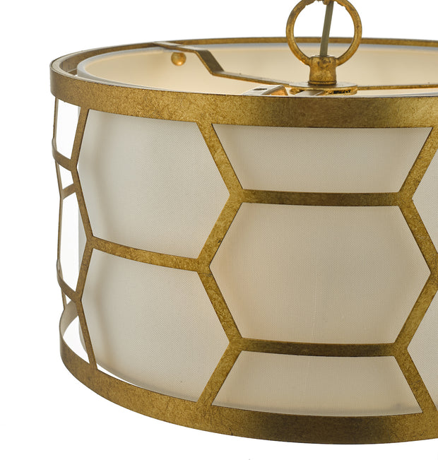 Dar Epstein EPS0312 3 Light Pendant In Gold Leaf Finish Complete With Ivory Shade & Frosted Acrylic Diffuser