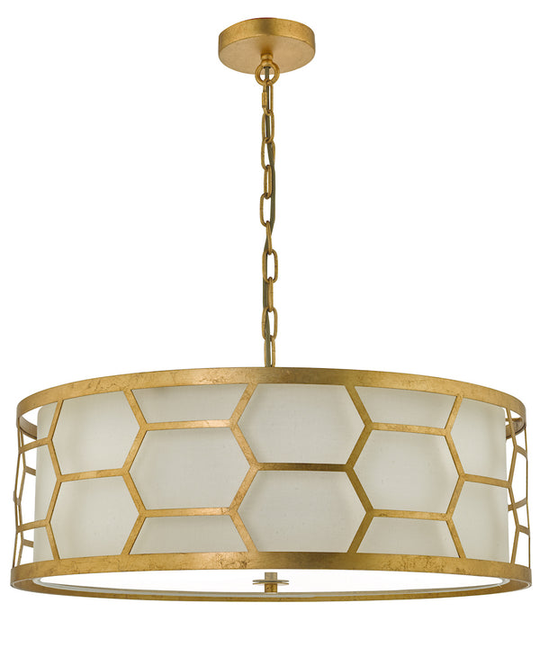 Dar Epstein EPS0412 4 Light Pendant In Gold Leaf Finish Complete With Ivory Shade & Frosted Glass Diffuser