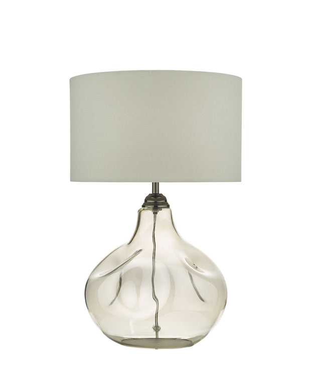 Dar Esarosa ESA4210 Table Lamp In Smoked Glass Complete With White Shade