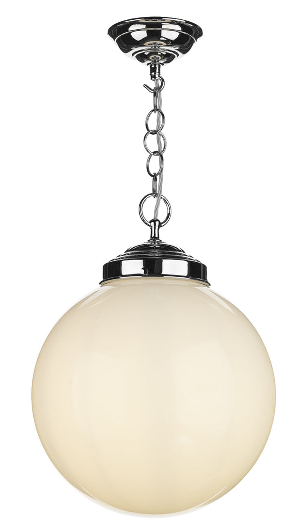 David Hunt Fairfax FAI0152 Polished Chrome Single Pendant Light Complete With Opal Glass