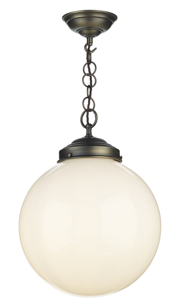 David Hunt Fairfax FAI0172 Antique Brass Single Pendant Light Complete With Opal Glass