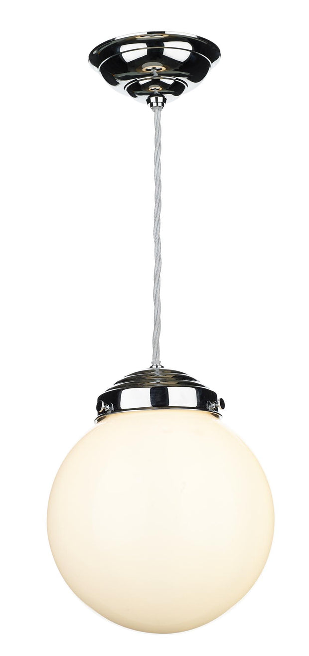 David Hunt Fairfax FAI8652 Polished Chrome Small Single Pendant Light Complete With Opal Glass