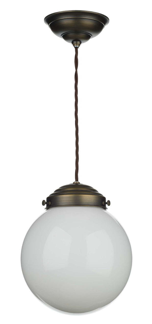 David Hunt Fairfax FAI8672 Antique Brass Small Single Pendant Light Complete With Opal Glass