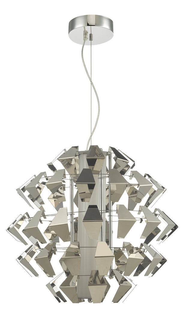 Dar Falcon FAL8650 35W LED Single Pendant In Polished Chrome Finish