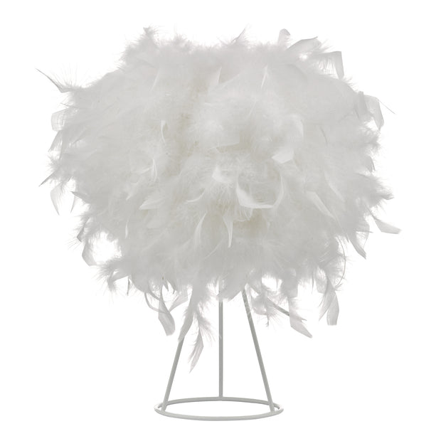 Dar Feather FEA412 White Feather Table Lamp