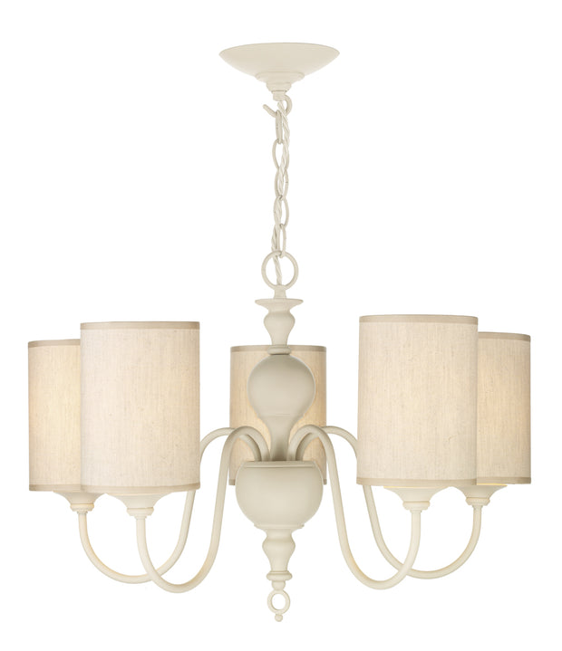 David Hunt Flemish FLE0533 Distressed Cream 5 Light Chandelier Complete With Shades - Fitting Only