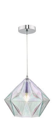 Dar Gaia GAI0150 Single Pendant In Polished Chrome Finish With Iridised Glass