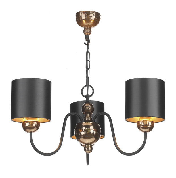 David Hunt Garbo GAR0373 Bronze 3 Light Chandelier Complete With Black Bronze Shades