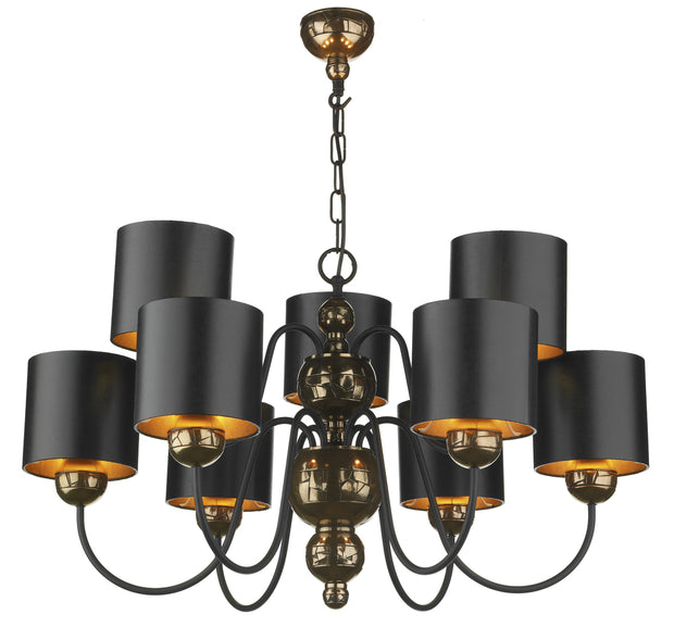 David Hunt Garbo GAR01373 Bronze 9 Light Chandelier Complete With Black Bronze Shades
