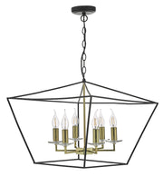 Dar Gretchen GRE0654 6 Light Pendant In Matt Black & Polished Brass Finish