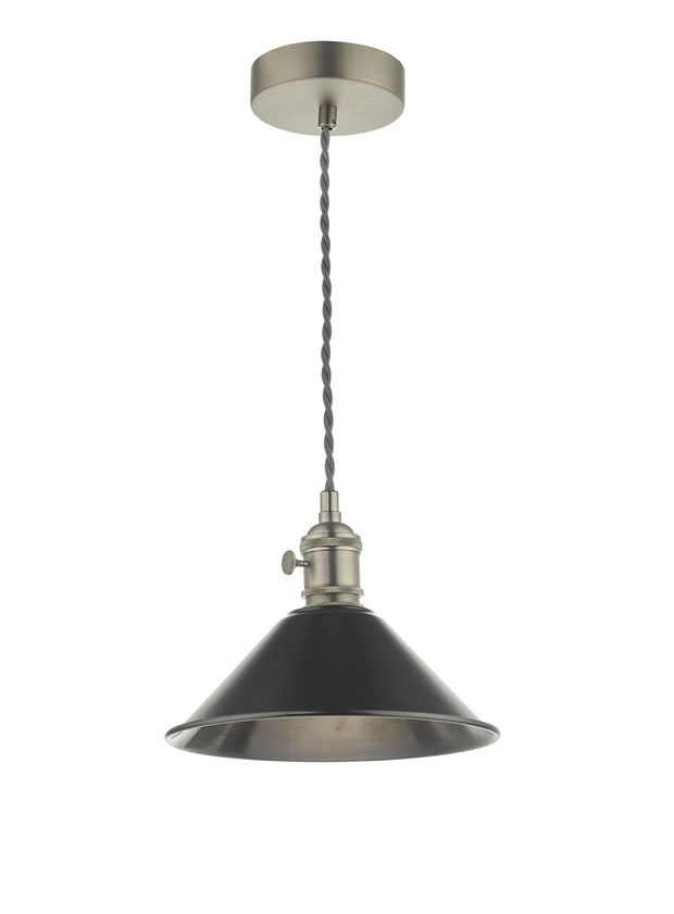 Dar Hadano HAD0161-02 Single Pendant In Antique Chrome Finish Complete With Antique Pewter Shade