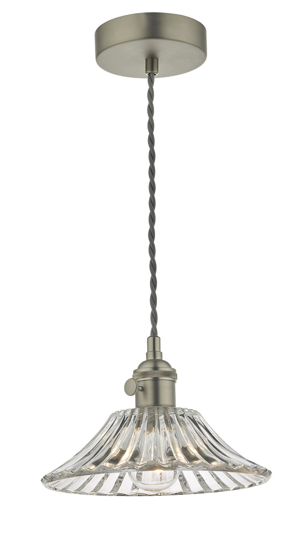 Dar Hadano HAD0161-04 Single Pendant In Antique Chrome Finish Complete With Flared Glass Shade