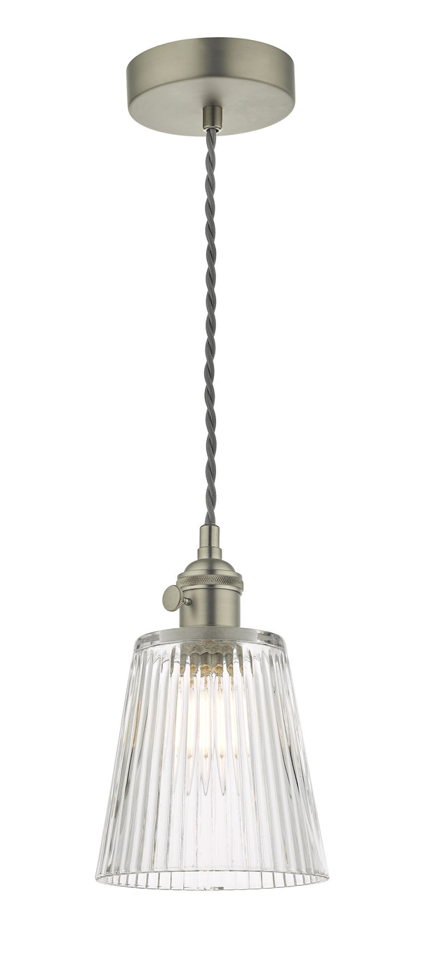 Dar Hadano HAD0161-05 Single Pendant In Antique Chrome Finish Complete With Ribbed Glass Shade