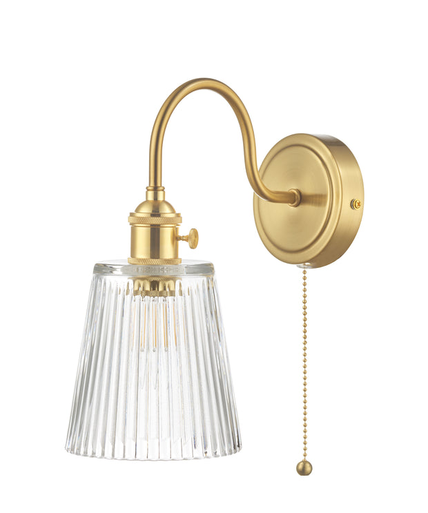 Dar Hadano HAD0740-05 Single Wall Light In Natural Brass Finish Complete With Ribbed Glass Shade