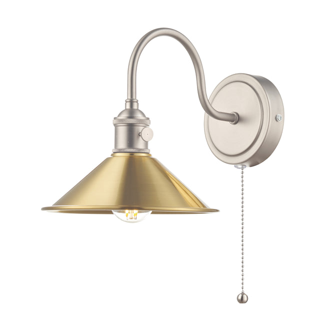 Dar Hadano HAD0761-01 Single Wall Light In Antique Chrome Finish Complete With Aged Brass Shade