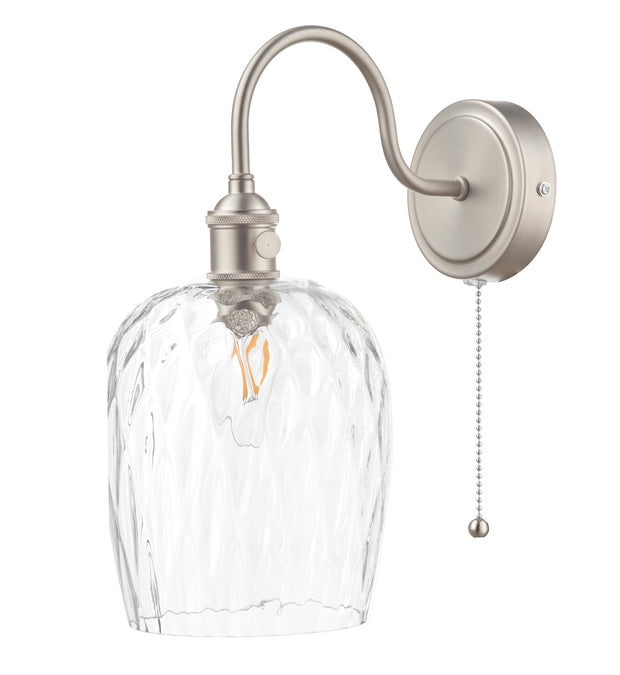 Dar Hadano HAD0761-03 Single Wall Light In Antique Chrome Finish Complete With Dimpled Glass Shade