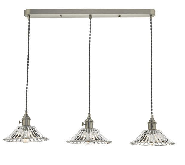 Dar Hadano HAD3661-04 3 Light Bar Pendant In Antique Chrome Finish Complete With Flared Glass Shades