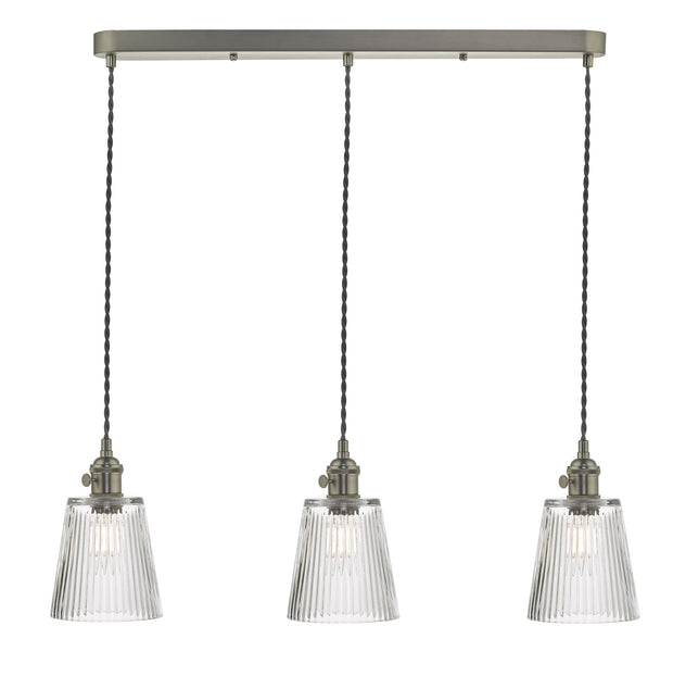 Dar Hadano HAD3661-05 3 Light Bar Pendant In Antique Chrome Finish Complete With Ribbed Glass Shades