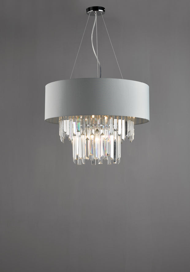Dar Halle HAL0639 6 Light Pendant Crystal Complete With Satin Grey Shade